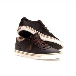 GUC Ralph Lauren Hanford Brown Leather Trainers